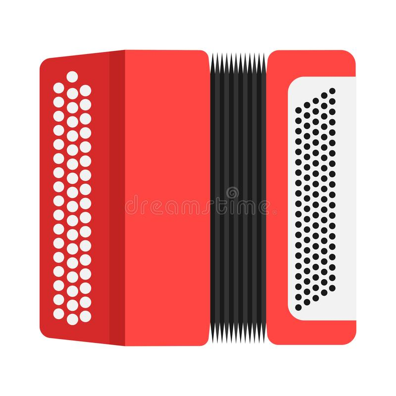 Accordion sound classic equipment illustration. Red flat vector icon front view.  vector illustration