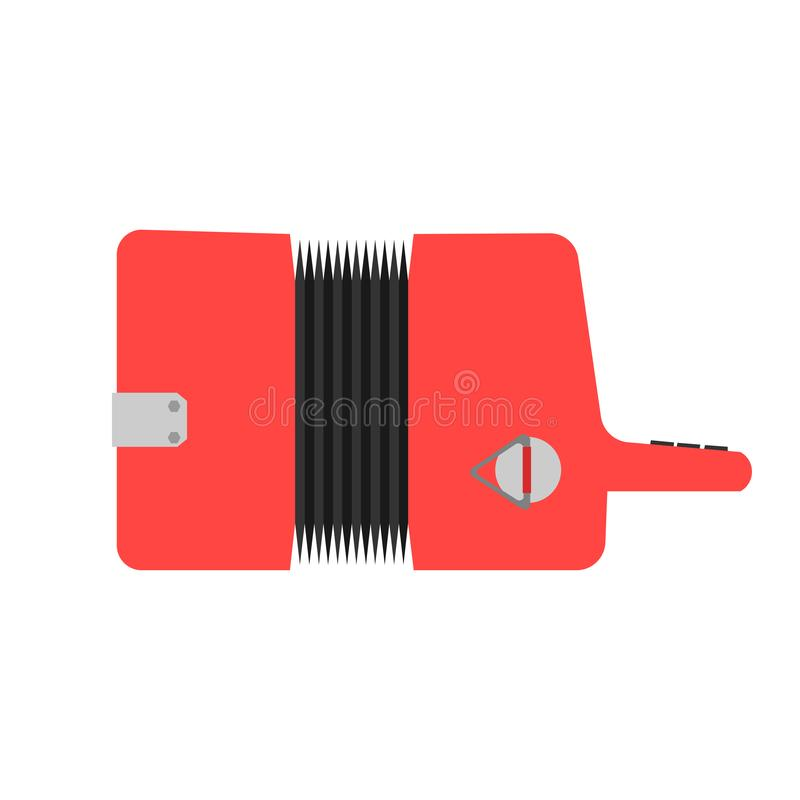 Accordion sound classic equipment illustration. Red flat vector icon top view.  stock illustration