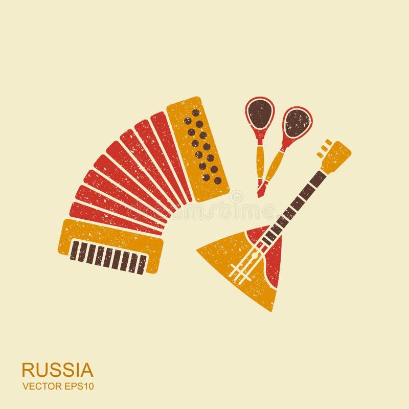 Accordion, spoons and balalaika Russian Musical instruments set. Accordion and balalaika Russian souvenirs set. Musical instrument vector illustration
