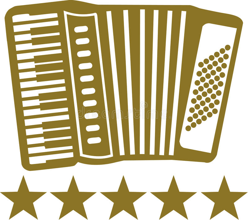 Accordion with 5 stars. Pictogram of an Accordion with 5 stars vector illustration