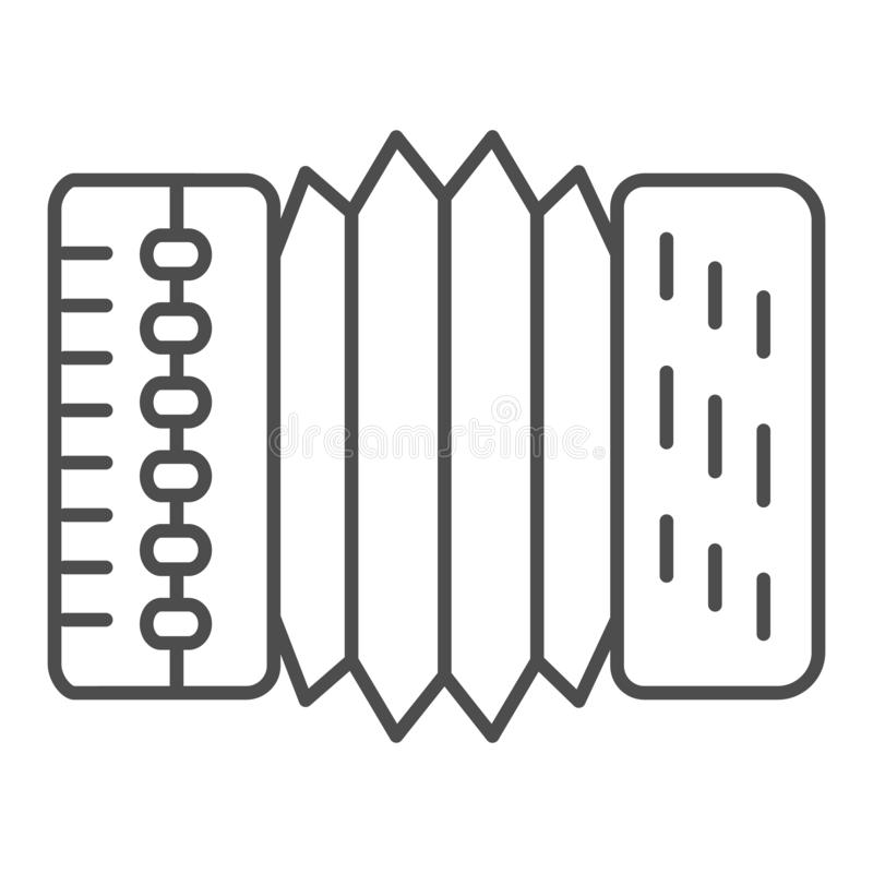 Accordion thin line icon. Harmonica vector illustration isolated on white. Musical instrument outline style design. Designed for web and app. Eps 10 vector illustration