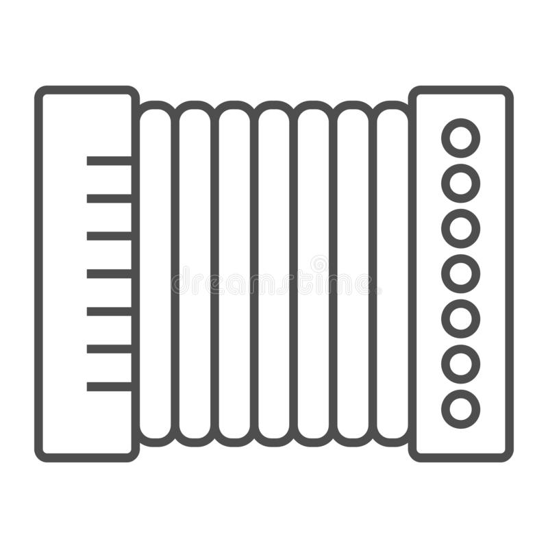 Accordion thin line icon, musical and instrument, harmonica sign, vector graphics, a linear pattern. On a white background, eps 10 stock illustration