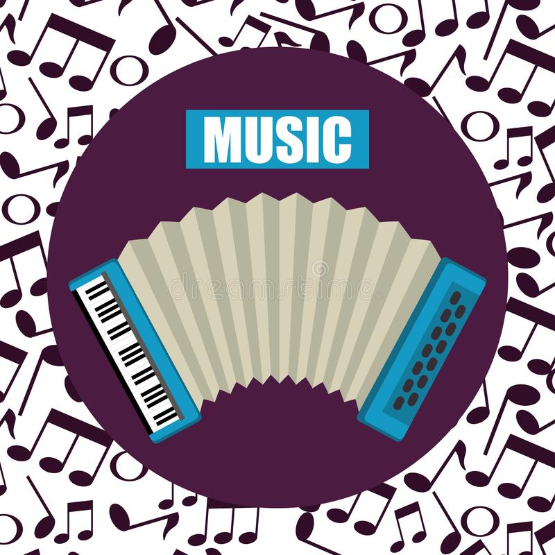 Accordion tropical instrument musical. Vector illustration design stock illustration