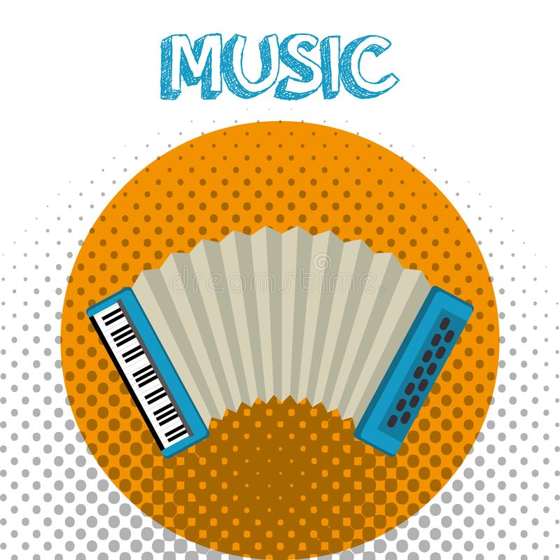 Accordion tropical instrument musical. Vector illustration design vector illustration