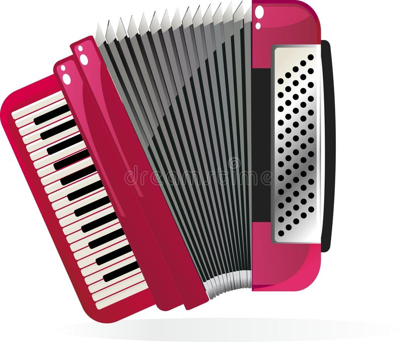 Accordion in vector. Illustration of beautiful red Accordion royalty free illustration