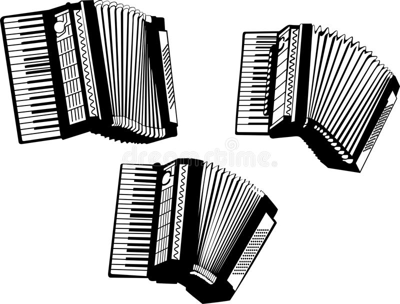 Accordion. Vector illustration of accordions silhouette set on white background royalty free illustration