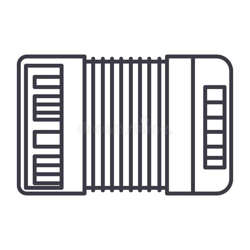 Accordion vector line icon, sign, illustration on background, editable strokes. Accordion vector line icon, sign, illustration on white background, editable vector illustration