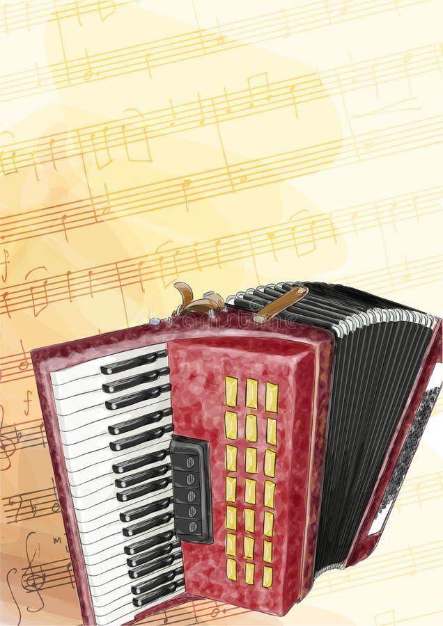 Accordion. Watercolor imitation. Accordion Illustration. Watercolor imitation vector illustration