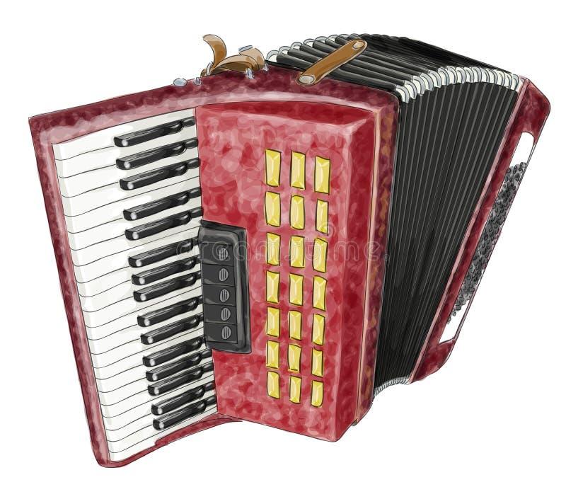 Accordion. Watercolor Imitation. Royalty Free Stock Photos