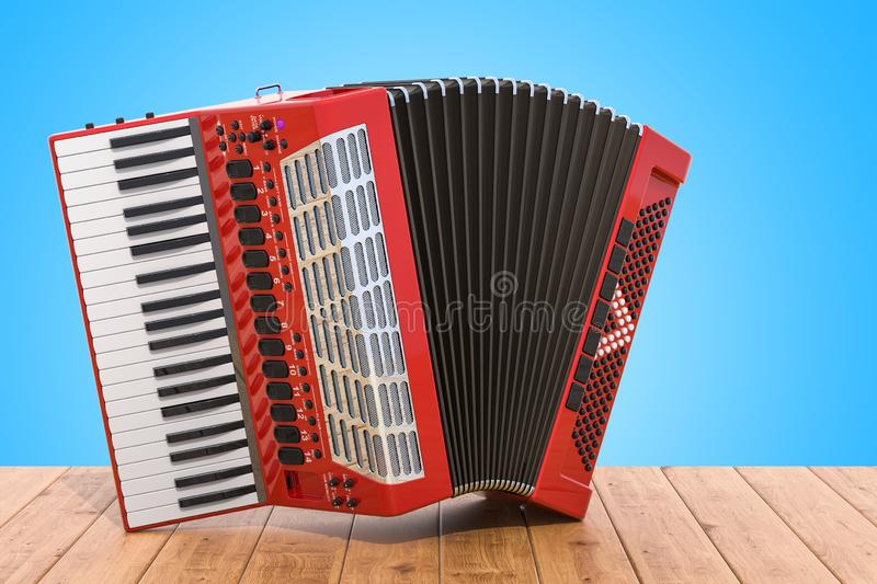 Accordion on the wooden table. 3D. Rendering vector illustration