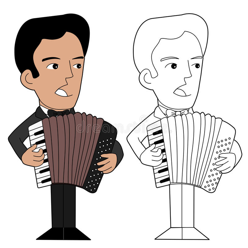 Accordionist cartoon. Accordion piano player, illustration, coloring book line-art royalty free illustration