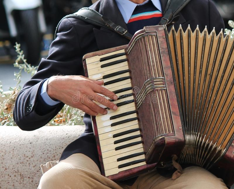 Accordionist accordian play playing stock, photo, photograph, image, picture. Accordionist playing accordion in the sun stock, photo, photograph, image, picture royalty free stock photos