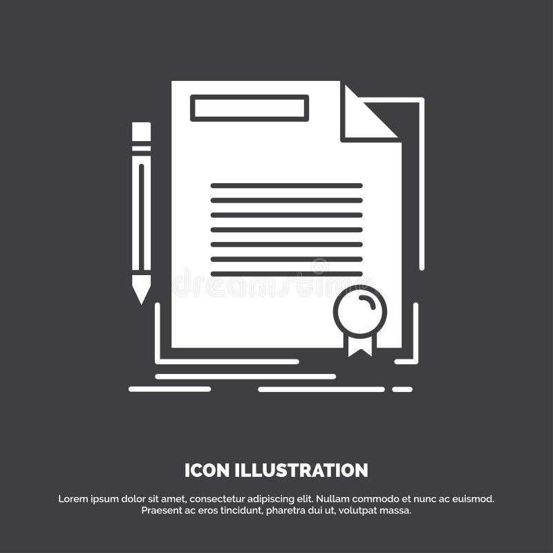 accordo, contratto, affare, documento, icona della carta r illustrazione di stock