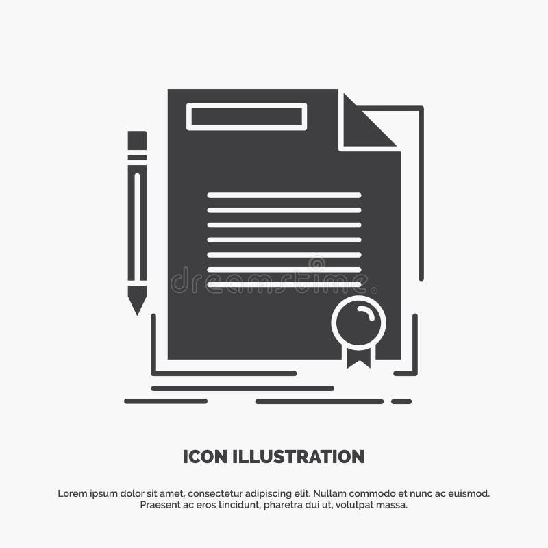 accordo, contratto, affare, documento, icona della carta simbolo grigio di vettore di glifo per UI e UX, sito Web o applicazione  illustrazione di stock