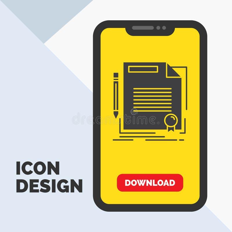 accordo, contratto, affare, documento, icona di glifo della carta in cellulare per la pagina di download Fondo giallo illustrazione vettoriale