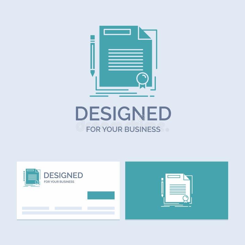 accordo, contratto, affare, documento, affare Logo Glyph Icon Symbol della carta per il vostro affare Biglietti da visita del tur illustrazione vettoriale