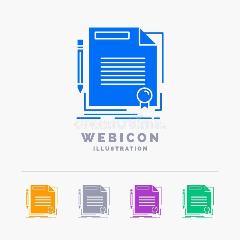 accordo, contratto, affare, documento, modello dell'icona di web di glifo di colore della carta 5 isolato su bianco Illustrazione illustrazione di stock