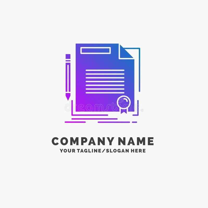 accordo, contratto, affare, documento, affare porpora Logo Template della carta Posto per il Tagline royalty illustrazione gratis