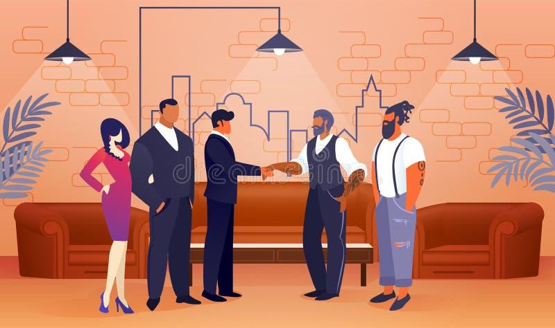 Accordo di progetto di affari nell'area moderna dell'ufficio illustrazione vettoriale
