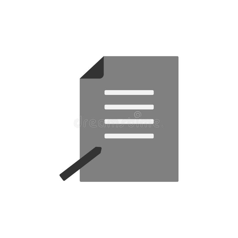 accordo, icona della penna Elemento dell'icona commercializzante per i apps mobili di web e di concetto L'accordo dettagliato, pe illustrazione di stock