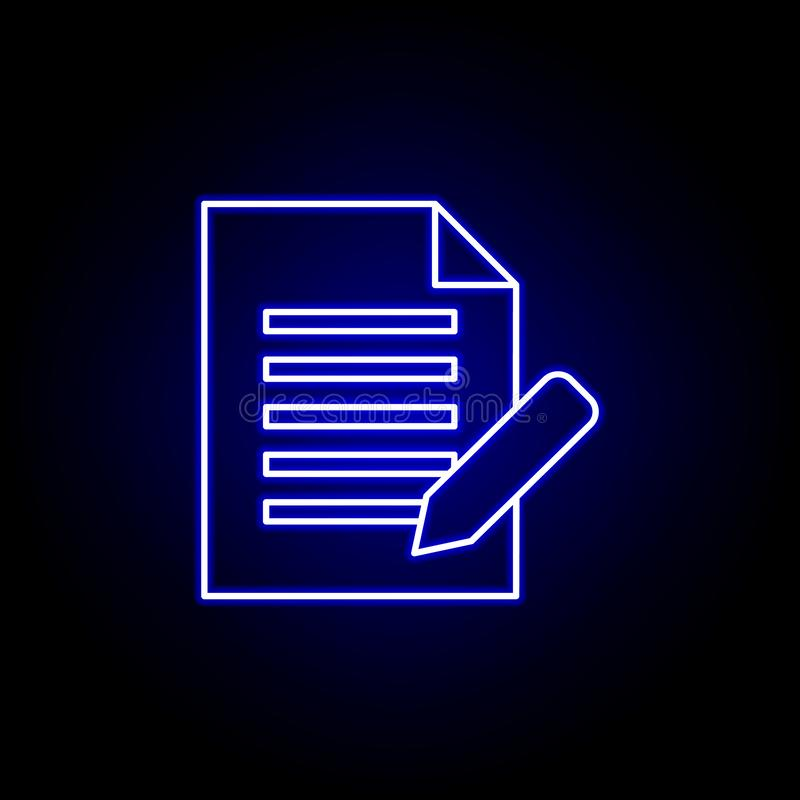 Accordo, penna, icona del documento Elementi dell'illustrazione delle risorse umane nell'icona al neon di stile I segni ed i simb illustrazione di stock
