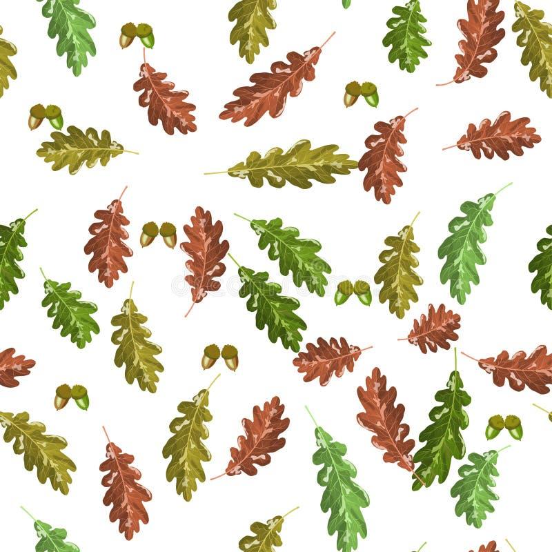 Accorn del roble y fondo inconsútil del otoño del modelo de la hoja del otoño ilustración del vector