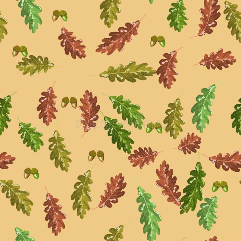 Accorn del roble y fondo rojo del otoño inconsútil del modelo del vector de la hoja del otoño libre illustration