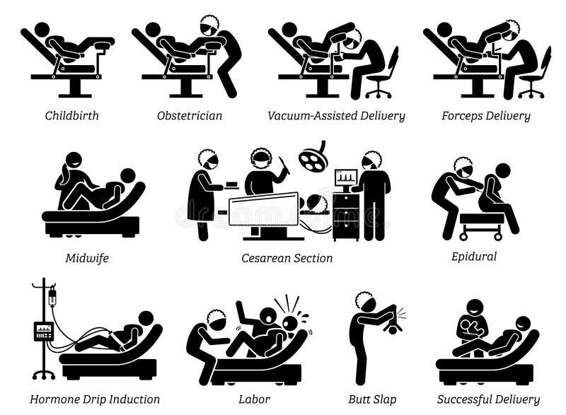 Accouchement à l'hôpital illustration de vecteur
