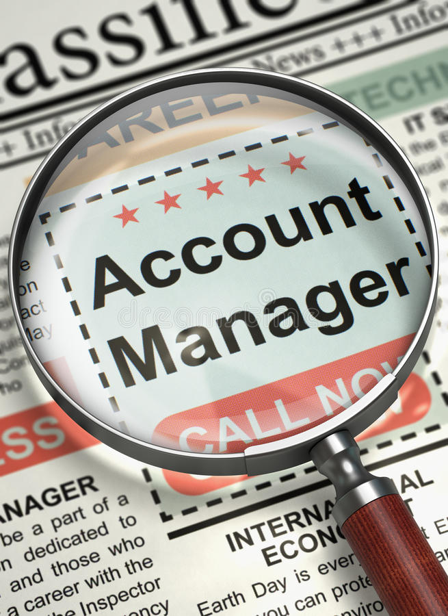Account Manager Hiring Now. 3D. stock photo