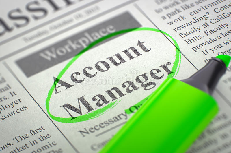 Account Manager Hiring Now. 3D. Account Manager - Small Ads of Job Search in Newspaper, Circled with a Green Highlighter. Blurred Image with Selective focus stock photography