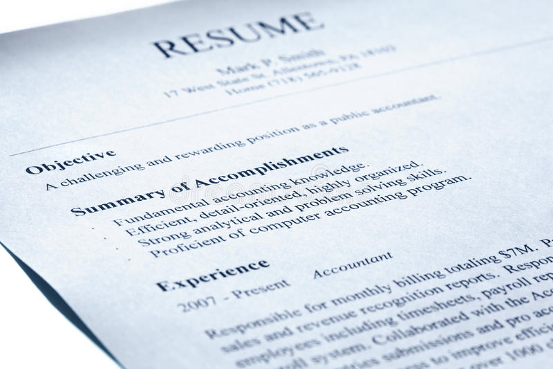 Account manager resume. Blue tint. Account manager resume form title page close-up. Blue tint. Shallow DOF royalty free stock photography