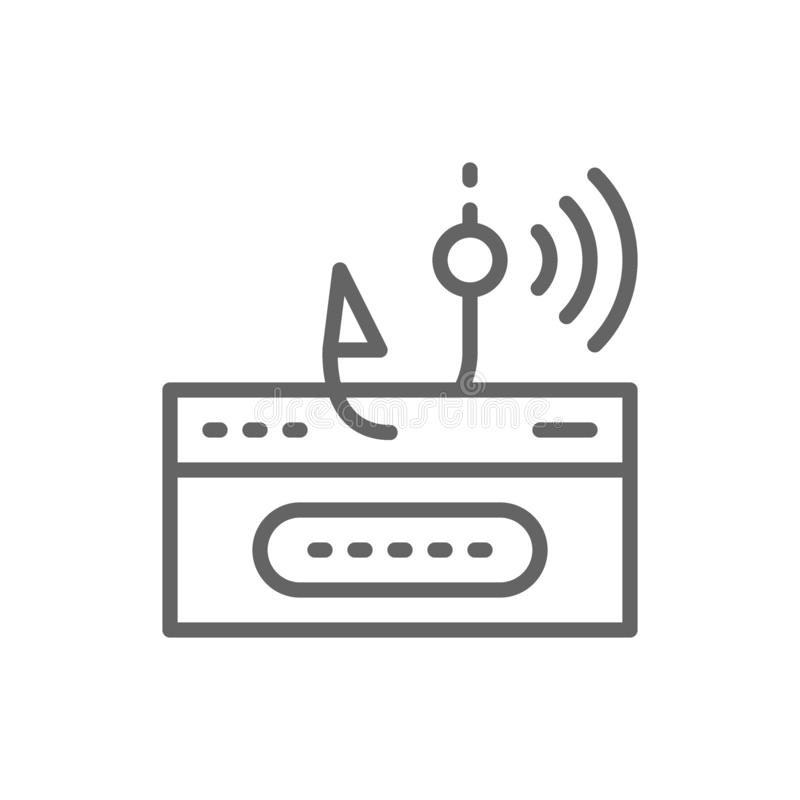 Account password and fishing hook, data phishing, hacking online scam line icon. royalty free illustration