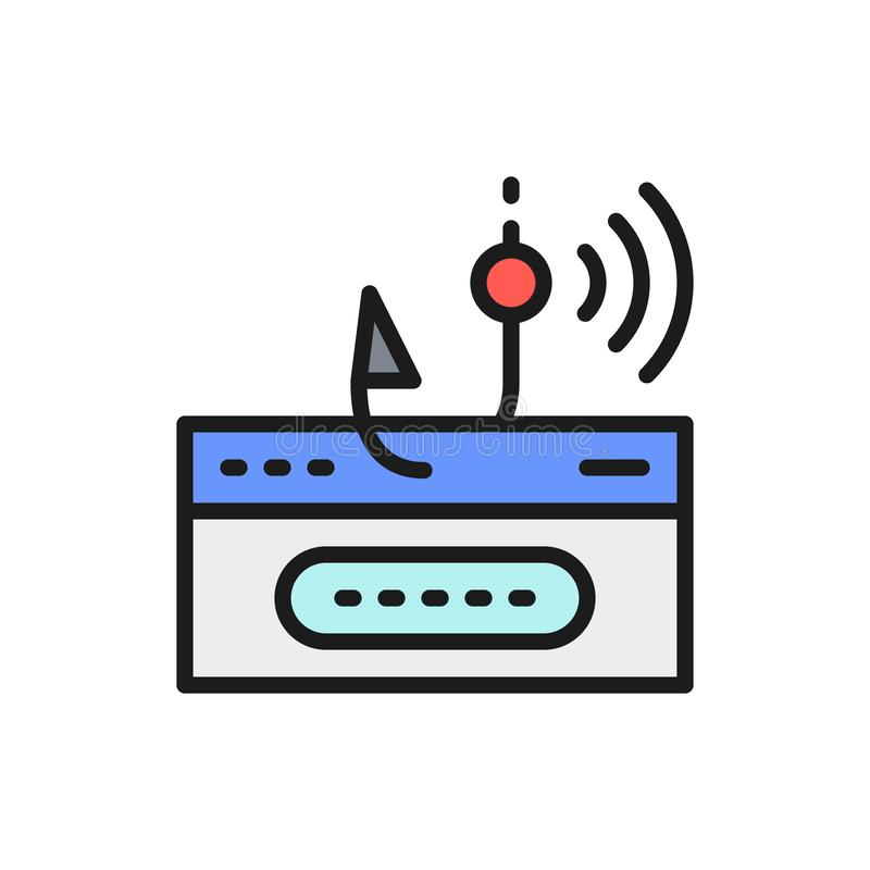 Account password and fishing hook, online scam flat color line icon. Vector account password and fishing hook, online scam flat color line icon. Symbol and sign stock illustration