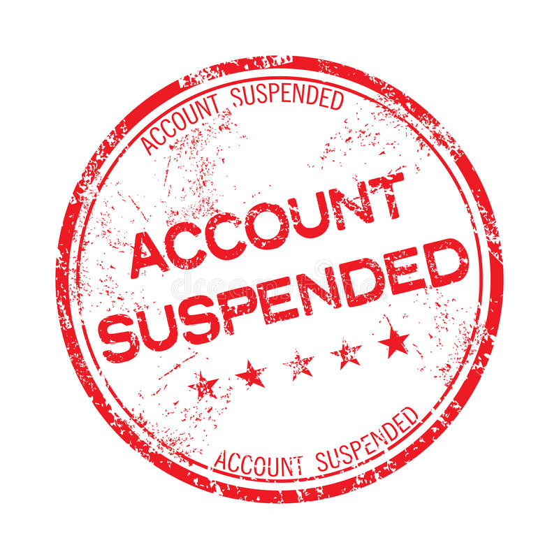 Account suspended rubber stamp stock photo