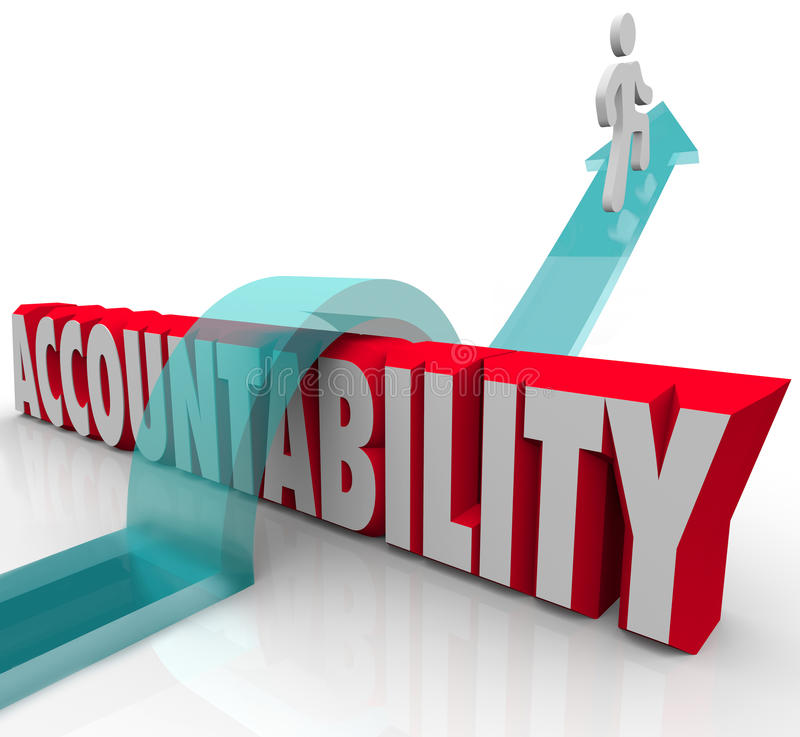 Accountability Person Running from Responsibility. Person jumping over the word Accountability as a worker or someone avoiding or running from responsibility stock illustration