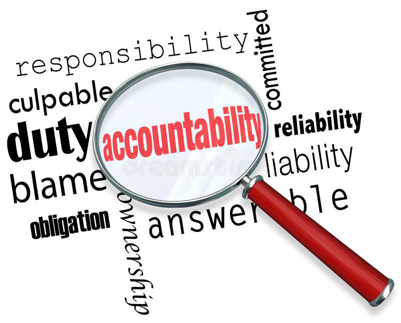 Accountability Search Find Responsibile People Credit Blame. Accountability word under a magnifying glass looking for someone to take responsibility, credit or vector illustration
