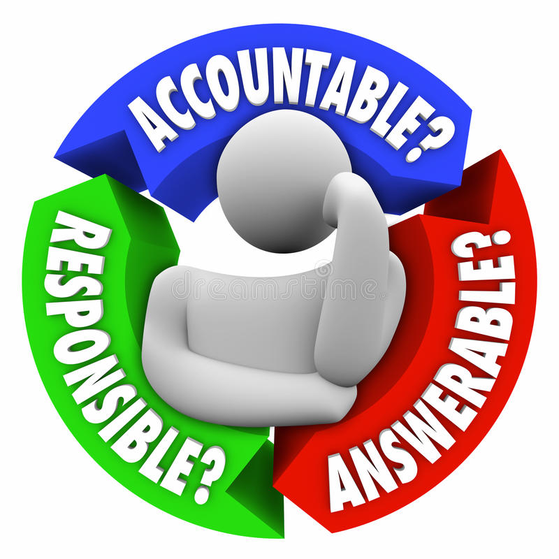 Accountable Responsible Answerable Person Thinking Who is to Blame stock illustration
