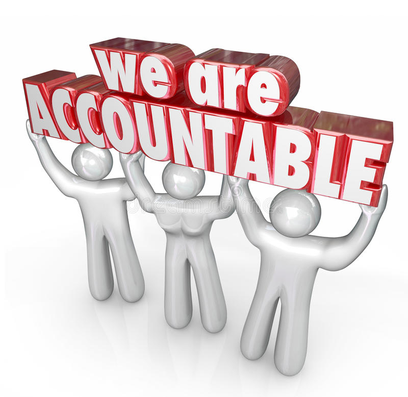We Are Accountable Team Lifting Words Taking Responsibility royalty free illustration