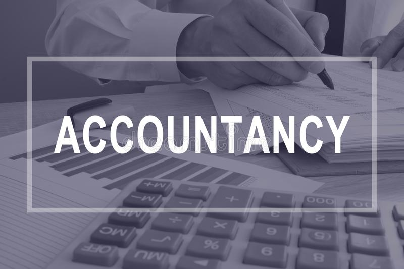 Accountancy concept. Accountant working with report. stock photos
