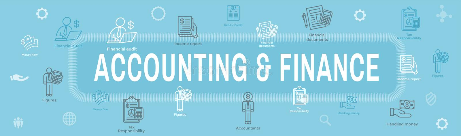 Accountant of Accounting Pictogram Set & Web Header Banner royalty-vrije illustratie