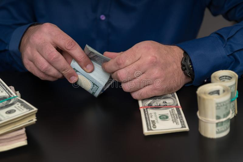 Accountant or businessman counting cash royalty free stock photography