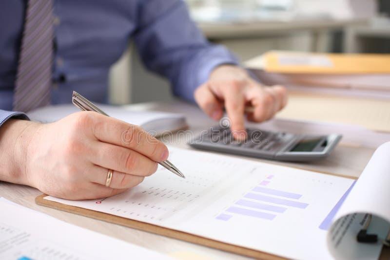 Accountant Calculate Finances Corporate Report stock photo