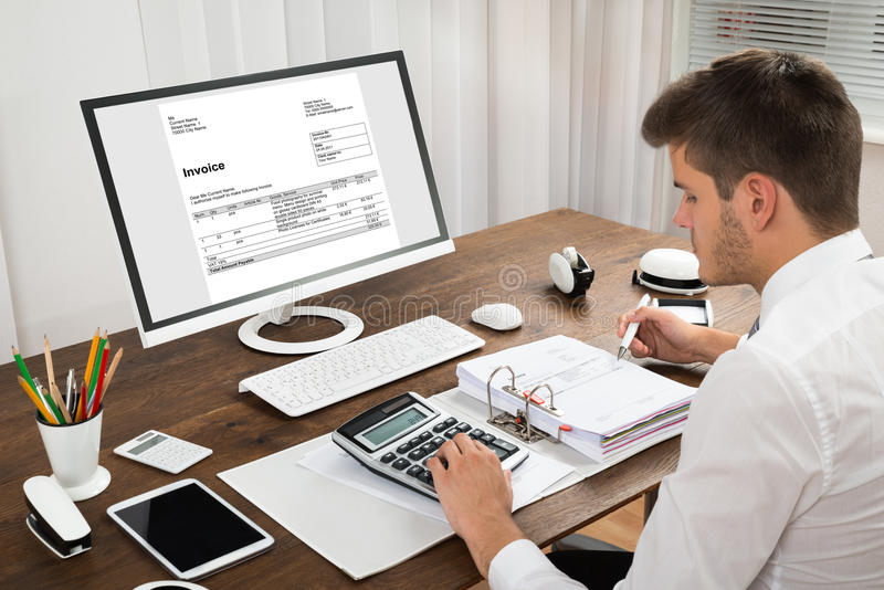 Download Accountant Calculating Tax At Desk Stock Image - Image of computer, businessperson: 77510113