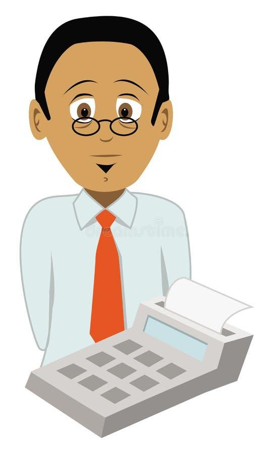 Accountant & calculator royalty free illustration