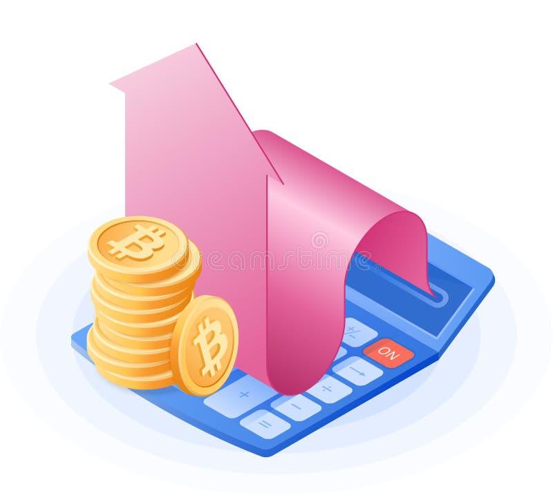 The accountant calculator, increasing arrow graph, stack of bitcoins. vector illustration