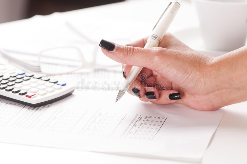 Accountant. Close up of female accountant royalty free stock photo