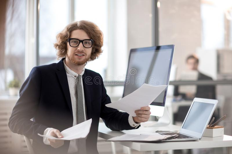 Accountant with documents royalty free stock image