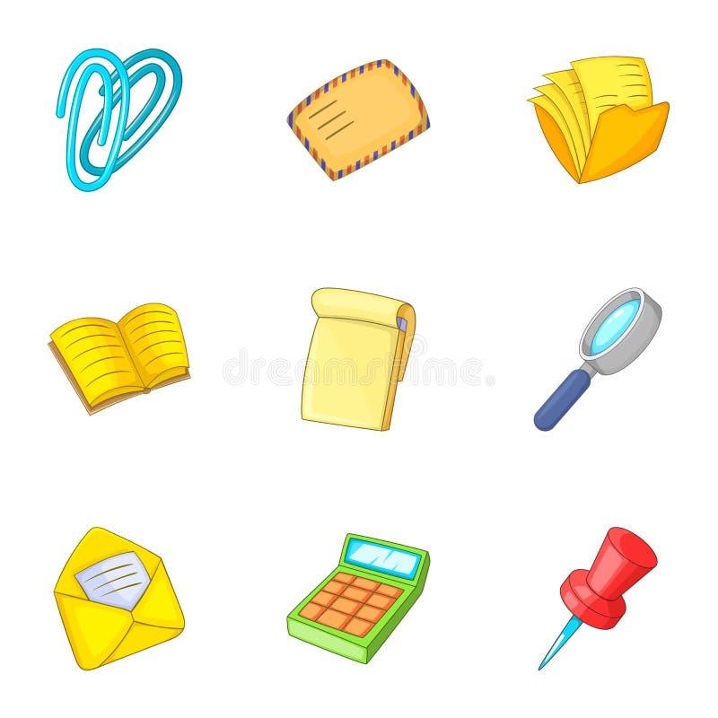 Accountant equipment icons set, cartoon style vector illustration