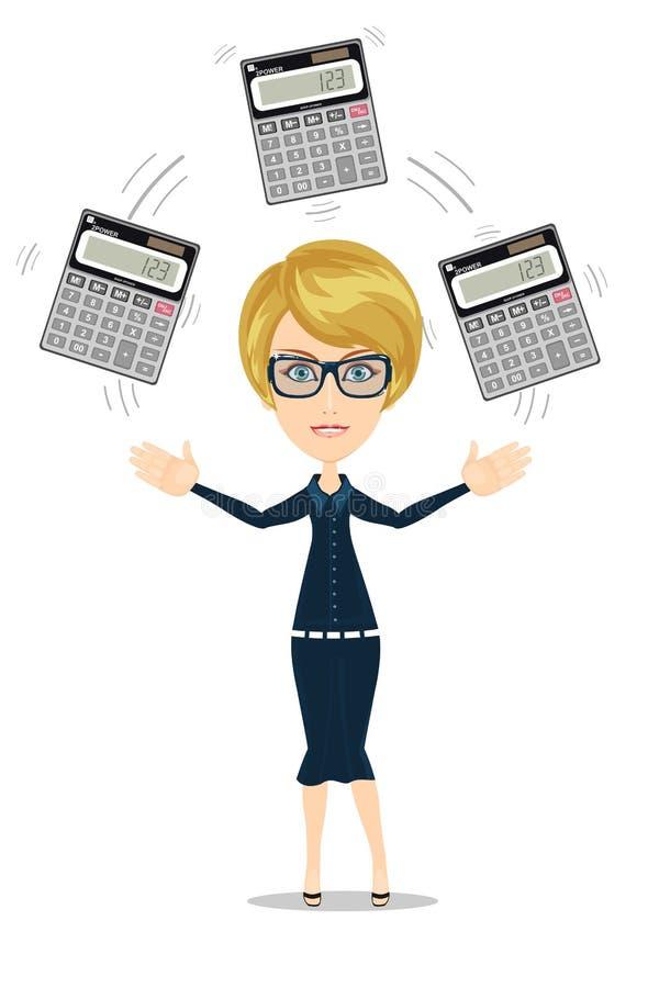 Accountant jongleren met calculators in zijn handen stock illustratie