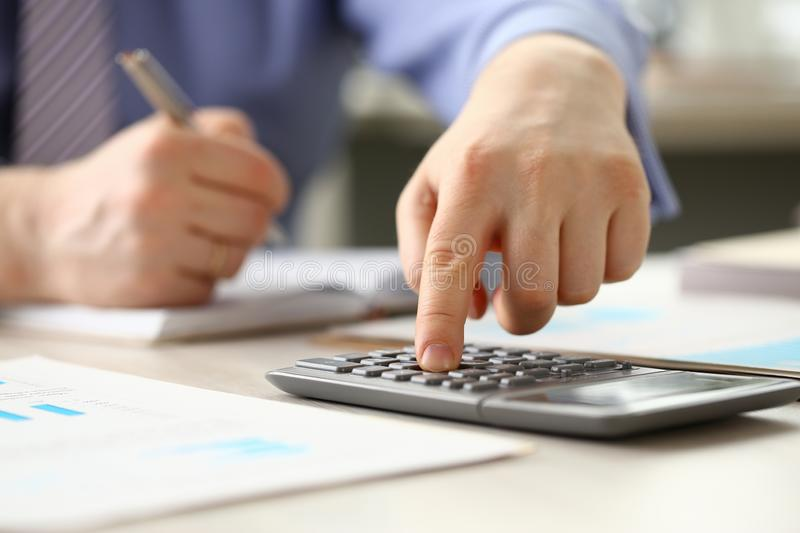 Accountant Manager do Bookkeeping Calculate Budget royalty free stock photo